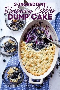 3 Ingredient Blueberry Dump Cake | Have you heard of blueberry dump cake? It's a super easy and delicious way to do blueberry cobbler with cake mix, blueberries, and butter! This blueberry cobbler dump cake is perfect for when you need a quick & easy dessert. Your friends and family will love this easy & delicious sweet treat this summer. Try it for the 4th of July or Labor Day! || Delightful E Made Easy Blueberry Desserts, Blueberry Cobbler Recipes, Blueberry Dump Cakes, Quick Easy Desserts, Blueberry Cake Recipe With Cake Mix, Strawberry Desserts, Blueberry Cobler, Cheesecake Strawberries, Strawberry Sauce