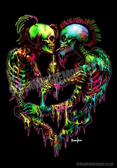 Punk Art print by Marcus Jones Merry Christmas to the living and dead. Arte Punk, Punk Art, Arte Horror, Horror Art, Psychedelic Art, Totenkopf Tattoos, Skull Pictures, Skull Artwork, Skeleton Art