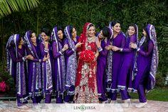 South Asian wedding (traditional red sari bride) Purple + White bridesmaids | Lin & Jirsa Photography