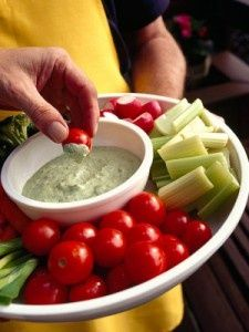 Healthy Snack Raw Veggies and Salad Dressing
