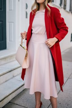 Gal Meets Glam Blush Pink Dress & Red Coat - Maje dress, Vince coat & Mansur Gavriel bag