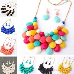 Fashion Women Chunky Collar Bubble Statement Necklace and Earrings Jewelry Sets #Unbranded #Statement