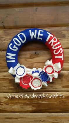 Patriotic 4th of July Independence Day  felt wreath, Veteran's Day  Red, White & Blue Wreath,  American flag  wreath, Memorial Day wreath