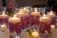 Love the candles with pink rose petals inside wedding receptions, floating candles, church weddings, wedding decorations, reception ideas, catholic churches, christmas decorating ideas, candle centerpieces, wedding centerpieces