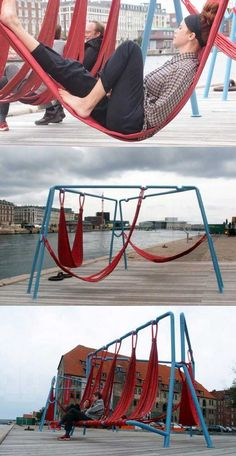 Awesome Hanging Chair Design Ideas Suitable For Outdoor … - Modern Urban Furniture, Street Furniture, Industrial Furniture, Furniture Ideas, Design D'espace Public, Urban Lifestyle, Hanging Furniture, Hanging Chair, Urban Intervention
