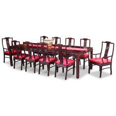 114in Rosewood Longevity Design Dining Table with 10 Chairs. Exhibiting its pleasing simple lines in a distinct Ming (1368-1644) style, this exquisite dining set is intricately carved in Chinese Key with longevity symbols. Cherry finish. Oriental Rosewood dining set.
