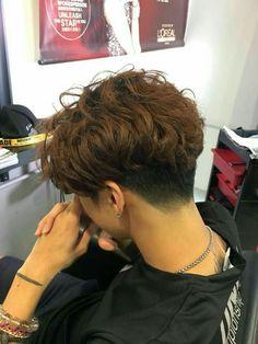 Asian Haircut, Asian Men Hairstyle, Asian Boy Haircuts, Kpop Hairstyle, Trendy Haircuts, Short Curly Hair, Short Hair Cuts, Curly Hair Styles, Tomboy Hairstyles