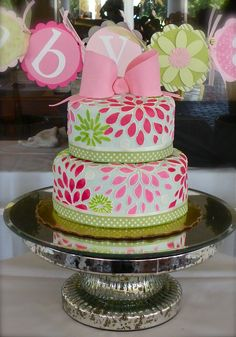 pink, blue, green baby shower cake