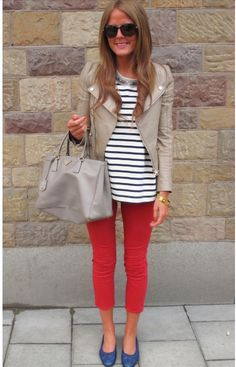 red pants + stripes + tan jacket + blue shoes! Yellow purse would be cute.