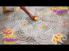 Free Hand Rangoli Design, Rangoli Designs With Dots, Beautiful Rangoli Designs, Kolam Designs, Colour Rangoli, Nose Ring Designs, Blue Silk Saree, Happy Diwali Images, Padi Kolam