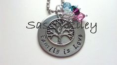 """$24.99 """"Family is Love"""" Necklace. Choose up to 6 stones. Great Mother's Day Gift!!"""