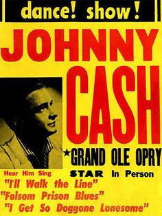 Johnny Cash - 1950\u0027s - Dance! Show! - Concert Poster
