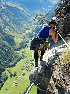 Climbing out into oblivion! - A wanderer's experience on the Via Ferrata in Mürren, Switzerland. Alpine Adventure, Adventure Travel, Vacation Destinations, Vacation Spots, Switzerland Tourist Attractions, Best Wineries In Napa, Road Trip Packing, Hiking Spots, Adventure Activities