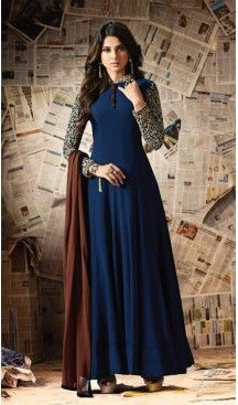 Buy Jennifer Winget Navy Blue Anarkali Suit online from the wide collection of anarkali-suit. This Blue colored anarkali-suit in Faux Georgette fabric goes well with any occasion. Shop online Designer anarkali-suit from cbazaar at the lowest price. Designer Salwar Kameez, Designer Anarkali, Designer Gowns, Indian Designer Wear, Jennifer Winget, Pakistani Dresses, Indian Dresses, Indian Outfits, Abaya Mode