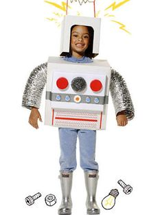 Build an out-of-this-world robot costume from leftover boxes, a pot scrubber, and bottle tops.