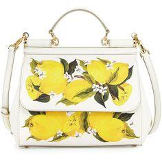 Dolce & Gabbana Miss Sicily Large Lemon-Print Satchel Bag (6.965 BRL) ❤ liked on Polyvore featuring bags, handbags, dolce gabbana purses, zipper handbags, saffiano leather satchel, dolce gabbana handbags and top handle purse