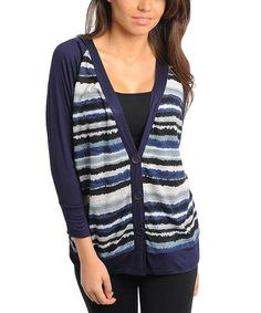 Take a look at this Navy Stripe Raglan Cardigan by Buy in America on #zulily today!