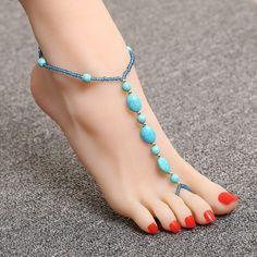 Natural turquoise Stone Anklet Ankle Foot Jewelry Barefoot Sandals Ank – shawalt
