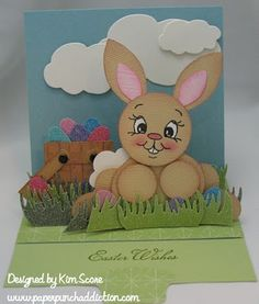 punch art bunny on sliding pop up card designed by Kim Score