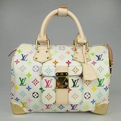 """louis vuitton monogram multicolore speedy 30  - Monogram Multicolore canvas and natural cowhide trim  - Monogram Multicolore is a creation of Takashi Murakami for Louis Vuitton - Gold metallic hardware and studs  - Outside pocket with S-lock buckle  - Alcantara textile lining Size: 11.8"""" x 8"""" x 7.2""""  comes with: Serial and model numbersthe LV dust bagcare bookletLV cardsand  just pm me"""