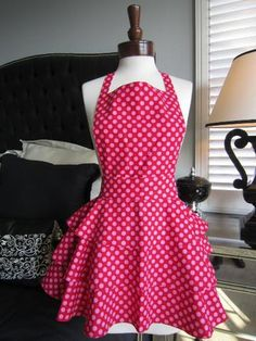 "Diva Ruffle Apron - ""Get your sexy on!"" Hot Pink Polka Dot Apron."