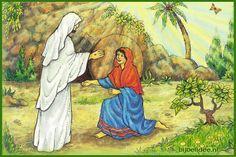 http://bijbelidee.nl/digipuzzels/ online puzzel met taalspel. Maria ziet dat Jezus leeft