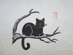 Cheshire Cat  Black Cat Lino Block Print by OniOniOniArt on Etsy