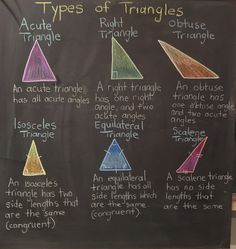 This a great reference sheet you can make as a class to review the different types of triangles, their characteristics and their angles. It can be left up in the classroom as a reference point for students to look when they need a reminder or help with their work and also is a great study sheet to give if the students have an assessment or project having to do with different types of triangles! Great idea!