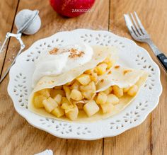 Crepes with apple and cream Crepes, Camembert Cheese, Cantaloupe, Apple, Fruit, Desserts, Search, Food, Google