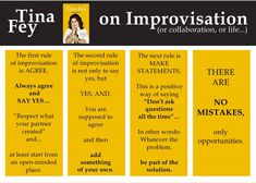 Tina Fey on Improv, excerpted from Bossypants. Great advise for any type of work. Drama Teacher, Drama Class, Acting Class, Acting Tips, Acting Games, Drama Drama, Stand Up Comedy Tips, Drama Activities, Drama Games