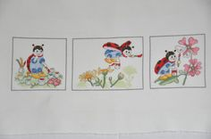 Finished completed Cross stitch - Lanarte Storybook, Colouring Flowers (15608) crossstitch counted cross stitch