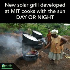 A #solar_grill developed by Professor David Wilson at MIT allows users to cook emissions-free day or night. The grill uses a Fresnel lens and solar energy to melt down a container of Lithium Nitrate, which acts as a battery storing thermal energy for up to 25 hours. The stored heat can be used to cook at temperatures above 450ºF. Renewable Energy, Solar Energy, Alternative Energie, Solar Cooker, Off Grid Solar, Thermal Energy, Heat Energy, Survival, Off The Grid