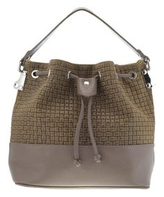 Taupe Woven Leather Bucket Bag #zulily #zulilyfinds…also in black