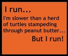 I run... I'm slower than a herd of turtles stampeding through peanut butter... But I run!