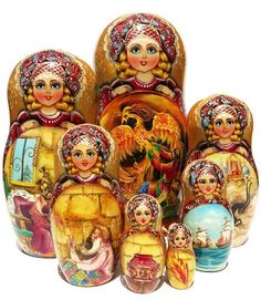 Exclusive Quality 7 Piece Storyteller Nesting Doll This nesting doll has a connection to Russian history, traditions and folk stories that is hard to capture in words. This doll features some of the