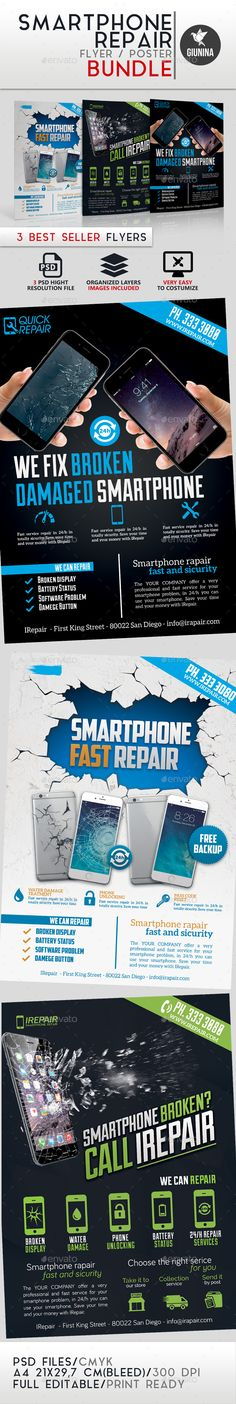 Smartphone Repair Flyer/Poster Bundle — Photoshop PSD #repair #bundle • Available here → https://graphicriver.net/item/smartphone-repair-flyerposter-bundle/14562283?ref=pxcr