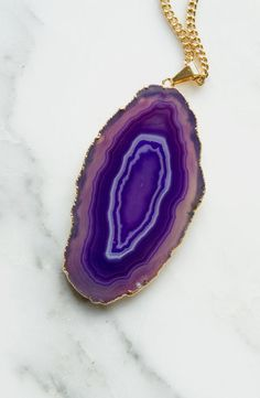 Purple Agate Pendant Necklace Boho Jewelry