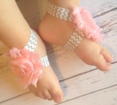 Barefoot Sandals Baby Pink and Grey Chevron by TinyTulipBoutique, $6.00