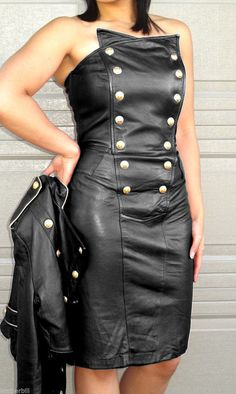 NORTH BEACH BLACK LEATHER MILITARY DRESS size XS | eBay