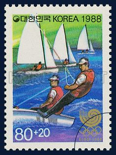 Postage Stamp of Seoul Olympic 1988, Yacht, Sports, Blue, Green, white, 1988 03 05, 88 서울올림픽, 1988년 3월 5일, 1527, 요트, postage 우표