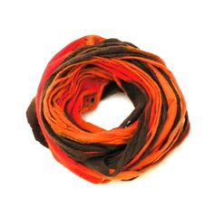 Cobweb felted wool Circle scarf  necklace / red by AgnesFelt,