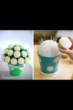 Cupcake centerpiece--don't know if worth the risk of it not working? And probably smaller/less cupcakes...