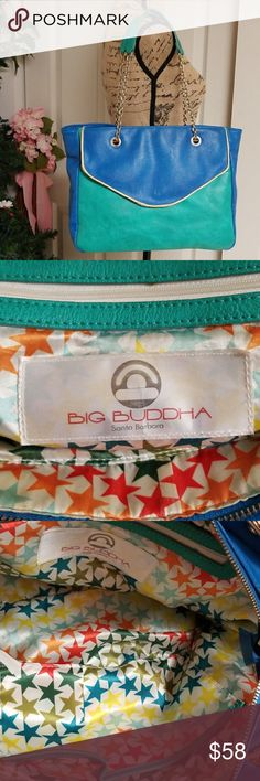 Big Buddha Purse Very cute and stunning Big Buddha blue and green purse.  Gold chain. green straps. Three pockets on the inside, two open and one with zipper.   Extra front compartment on the outside.  One extra back pocket with zipper on the outside. Excellent condition. Big Buddha Bags