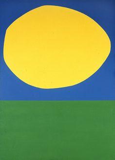High Yellow by Ellsworth Kelly  http://viz.dwrl.utexas.edu/blog/10# Farbe: 2 Grundfarben + Mischfarbe Komp.: gemäß Erfahrung (oben Sonne am blauen Himmel, unten Wiese) Aufg.: Helligkeitswerte (z.B. durch SW-Kopie obj., Matheaufg. Verhältnis ber., vgl. mit harm. Auftlg (Goethe))