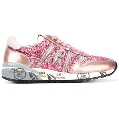 Premiata Diane 2099 sneakers (1 120 PLN) ❤ liked on Polyvore featuring shoes, sneakers, pink, real leather shoes, pink sneakers, pink shoes, premiata and genuine leather shoes