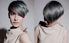 HAUS Salon #hausstyle short bob and gunmetal gray hair color