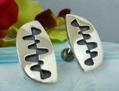 Vintage Ed Wiener Sterling Silver Shadowbox Modernist Non Pierced Earrings!! #EdWiener #Modernist