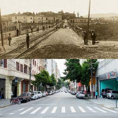 Foto comparativa: Rua Barão de Limeira em 1910 (foto de Guilherme Gaensly) e em 2014 (foto de Flavio Moraes).