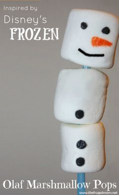 Disney's Frozen Olaf Marshmallow Pops perfect for upcoming holiday parties Frozen Themed Birthday Party, Disney Frozen Birthday, Disney Frozen Olaf, 6th Birthday Parties, Birthday Ideas, Happy Birthday, Olaf Marshmallow, Marshmallow Treats, Mini Marshmallows