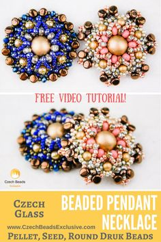 �Pellet, Seed, Round Druk Czech Glass Beads - BEADED PENDANT Necklace Free Video Pattern Tutorial -->�SAVE it!www.CzechBeadsExcluaive.com/+pellet  New multifunctional beading pattern is waiting for you! We have prepared a new video tutorial of a stylish Beaded Pendant Necklace that is easily to be repeated. In fact, because the central element of this design is a beaded bead, you can easily use this pattern not only for the creation of a necklace pendant bead, but also as a central element…